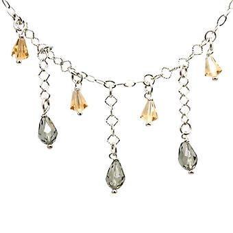 TOC Sterling Silver Grey/Champagne Clusters Drop Necklace Made With Swarovski Crystals