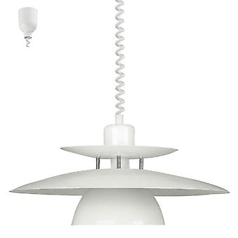 Eglo 87055) Brenda Rise And Fall Ceiling Pendant In White And Chrome