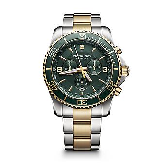 Victorinox Maverick Chronograph Green Dial Two Tone Stainless Steel Bracelet Men's Watch 241693