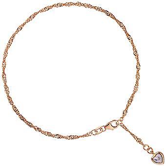 خلخال سلسلة قلب فضة 925 مطلي ارتفع الذهب 2.2 ملم 25 سم carabiner