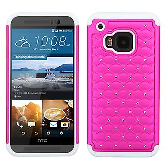 ASMYNA FullStar Protector Case for HTC One M9 - Hot Pink/Solid White