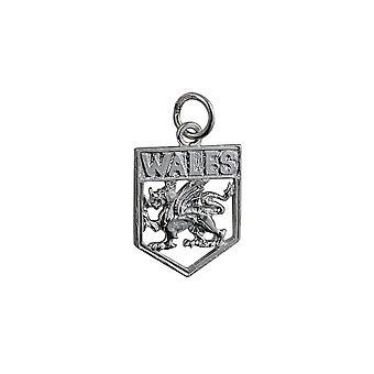 Zilveren 18x15mm Wales Badge hanger of Charm