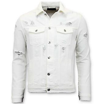 Denim Jacket - Ripped Denim - White