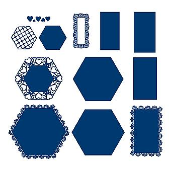 Tattered Lace Hexagon Lace Panel Die Set