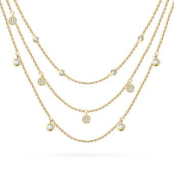 Necklace Three Rows Diamond Pendant 18K Gold - Yellow Gold