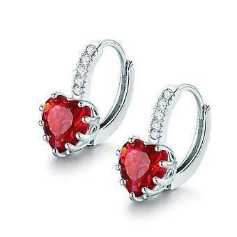 Heart shaped cabernet red diamond cz solitaire hoop earrings