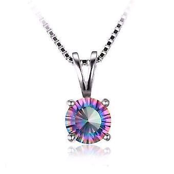 Rainbow fire genuine mystic topaz round cut 1ct iobi precious gems pendant necklace