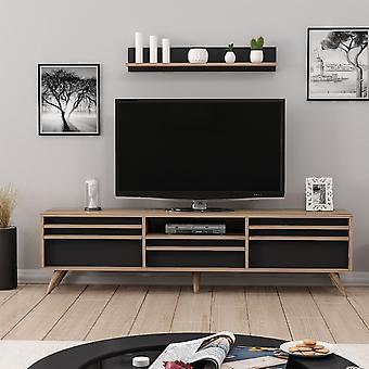 Mobile TV-Tür Hira Color Walnut, Schwarz in Melaminic Chip 180x35x48 cm, 90x15x15 cm