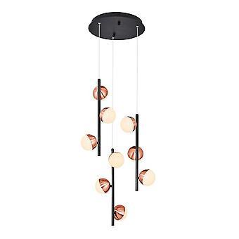 Lámpara de suspensión Kosmos Color negro, metal cobre, Acrílico 35x35x120 cm