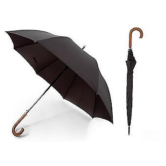 Unisex Plain schwarz automatische Wandern Regenschirm mit Holzgriff (Premium-Pongee-Stoff)