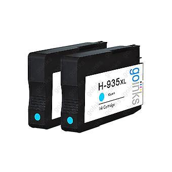 2 Cartuchos de tinta de tinta hp 935C compatíveis com ciano HP 935C (HP935XL)