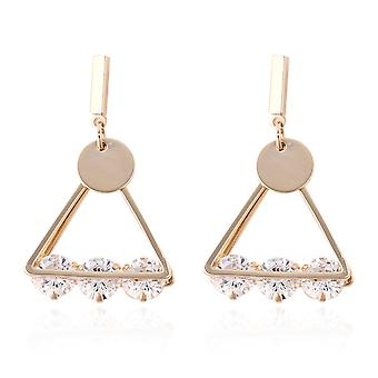 KARIS 2 Ct White Cubic Zirconia Triangle Earrings in Yellow Gold Tone for Women
