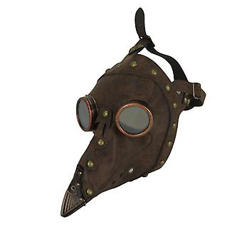 Brown Leather Studded Steampunk Peste Dottore Adulto Halloween Costume Maschera