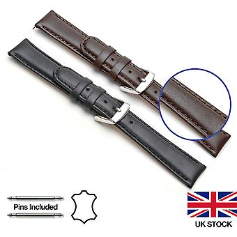 Mens Ladies Genuine Calf Leather e Nubuck Padded Watch Strap 12-22mm Larghezza