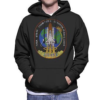 NASA STS 66 Atlantis Mission Badge Distressed Men's Hooded Sweatshirt