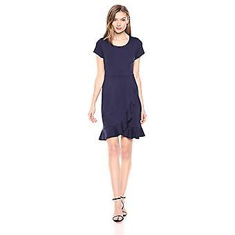 Merk - Lark & Ro Women's Short Sleeve Open Crew Neck Ruffled Hem Ponte Shift Dress, Midnight Blue, 6