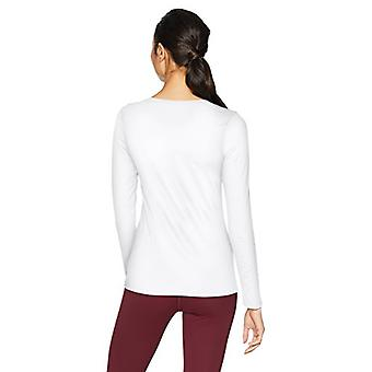 Brand - Core 10 Women's Fitted Run Tech Mesh Long Sleeve T-Shirt, Whit...