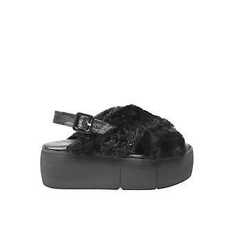 Paloma Barceló Vioolzwarte dames's zwart lederen sandalen