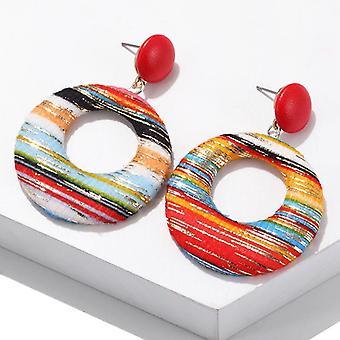 Brincos de círculo boho de design europeu vermelho