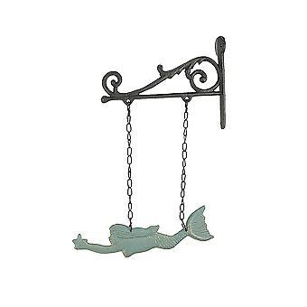 素朴なスクロールブラケット沿岸の装飾と鋳鉄水泳人魚ハンギングウォール彫刻