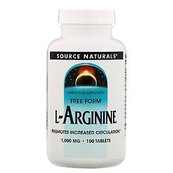 Source Naturals, L-Arginine, Free Form, 1000 mg, 100 Tablets