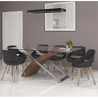 Natalie/Landon 7Pc Dining Set - Walnut Table/Charcoal Chair