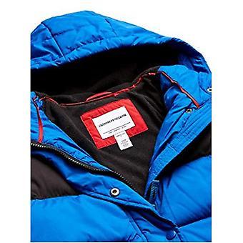 Essentials Boys' Big Heavy-Weight Hooded Puffer Coat, Cobalt Color Block, Medium
