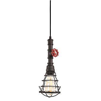 Firstlight Factory - 1 Pendentif au plafond léger Noir rustique, E27