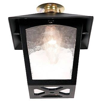 1 lys udendørs flush loft lanterne sort