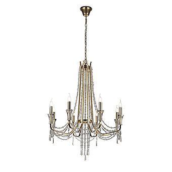 Inspiriert Diyas - Armand - Decke Kronleuchter Anhänger 8 Licht E14 Französisch Gold, Kristall