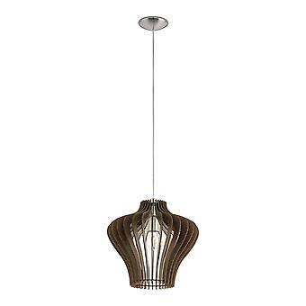 1 Light Ceiling Pendant Satin Nickel with Dark Brown Wooden Shade, E27