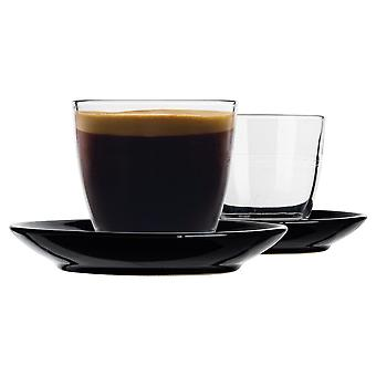 Duralex 12 Piece Gigogne Glass Coffee Cup and Ceramic Saucer Set - Modern Style Tumbler Mug for Latte Cappuccino - Noir - 220ml
