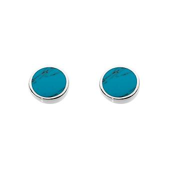 Dew Silver Small Round Synthetic Turquoise Stud Earrings 3060TQ013