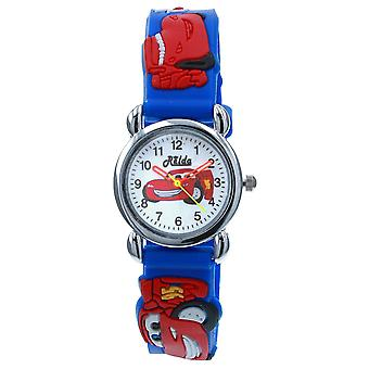 Relda Childrens Boy's 3D Motor Racing Car Blue Silicone Strap Watch REL134