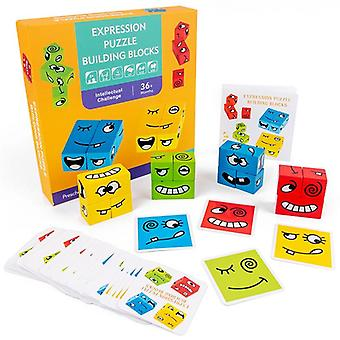 Expression Puzzle-wooden Face Changing Building Blocks