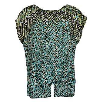 Belle By Kim Gravel Women's Top V-Neck W/ Front Knot Green A355041