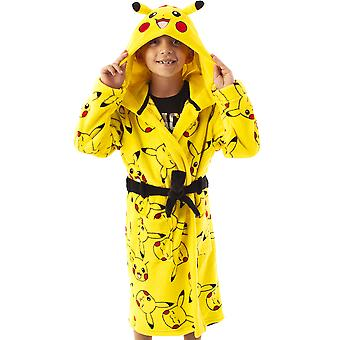 Pokemon Dressing Gown Pikachu Face Yellow Kids Pocket Bathrobe