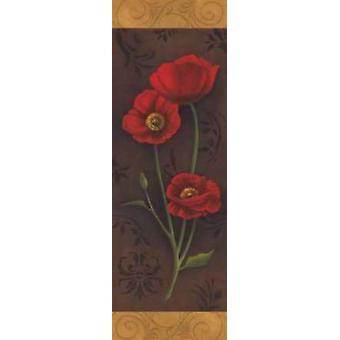 Roter Mohn Panel I Poster Kunstdruck von Jordan grau