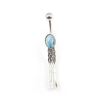 Anel de barriga dangle com design oval azul 14g aço cirúrgico