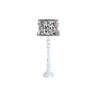 Distressed White Washed Wood Finish Table Lamp with Oyster Shells Shade