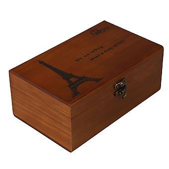 Vintage Home Nähen Werkzeug Aufbewahrungsbox 21.5x13.5x9cm Eiffelturm Muster