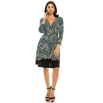 Floral Lace Printed Wrap Jersey Dress