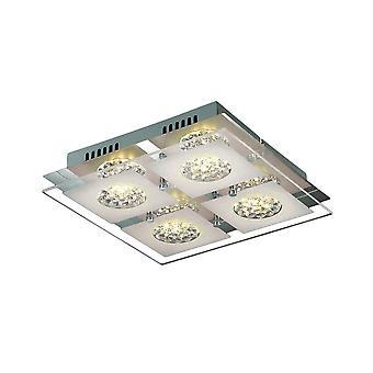 Moderne LED Flush Plafond Licht Chroom, Warm Wit 3000K 1280lm
