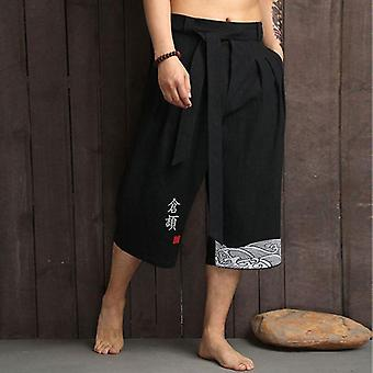 Kimono Traditional Pants, Casual Loose Male Yukata Trousers Linen Cropped Pants