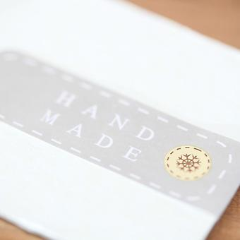 Grey 'Handmade' Button Mini Sticker Sheet 24 Sticker Labels - Craft / Wedding Favours