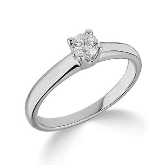 9K White Gold Traditional Solid 4 Claw Setting 0.35Ct Certified Solitaire Diamond Engagement Ring