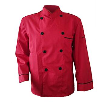 Long Sleeve Kitchen Cook Working Uniform Chef Waiter Waitress Coat Jacket Red