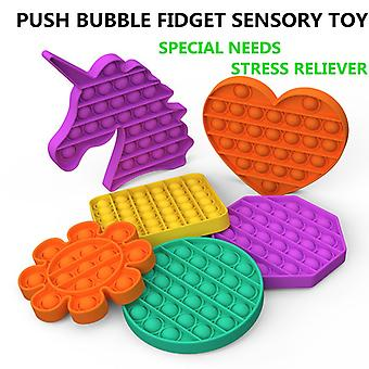 Новый Push Bubble Fidget Antistress Игрушки Взрослые Дети Единорог Поп Непоседа Это сенсорная игрушка Аутизм Специальные потребности Стресс Reliever