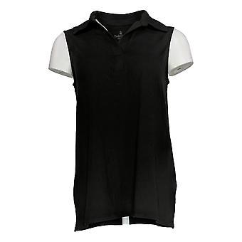 Cuddl Duds Women's Top Flexwear Polo Tank Sleeveless Black A373762