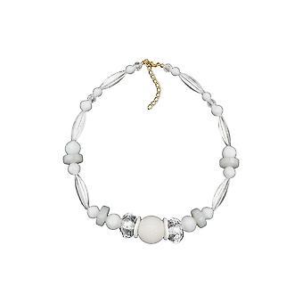 Halskette Waben Perle weiß Perlen weiß & transparent